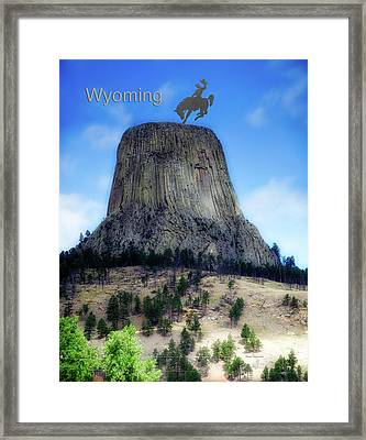 Wyoming Devils Tower With Cowboy And Climbers Framed Print by Thomas Woolworth