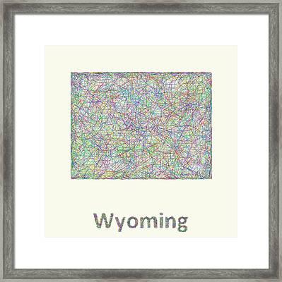 Wyoming Line Art Map Framed Print by David Zydd