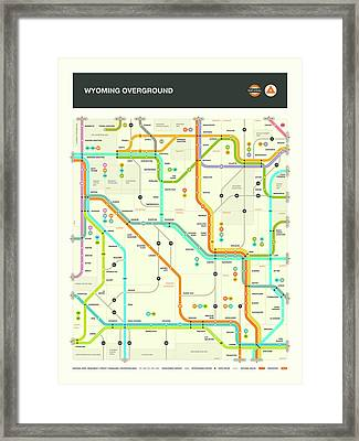 Wyoming Map Framed Print by Jazzberry Blue