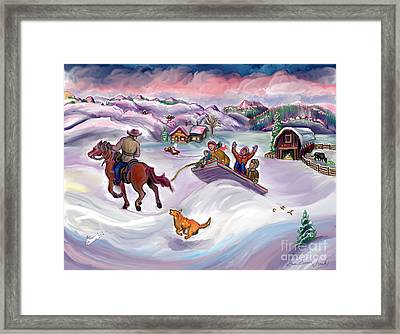 Wyoming Ranch Fun In The Snow Framed Print by Dawn Senior-Trask