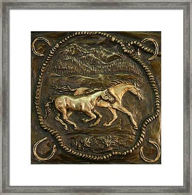 Framed Print featuring the sculpture Wyoming Ranch Horses by Dawn Senior-Trask
