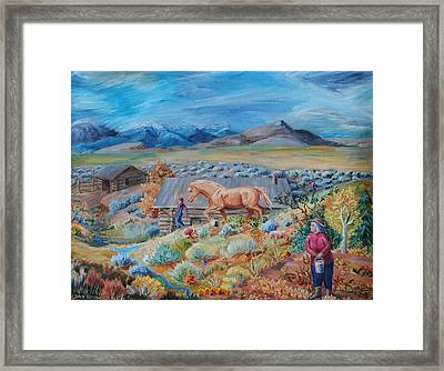 Wyoming Ranch Scene Framed Print