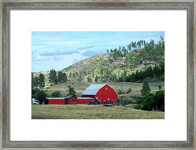 Wyoming Red Barn On The Ranch Framed Print by Thomas Woolworth