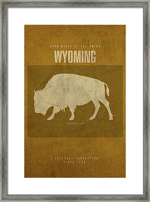 Wyoming State Facts Minimalist Movie Poster Art Framed Print