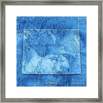 Wyoming State Usa 3d Render Topographic Map Blue Border Framed Print