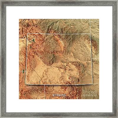 Wyoming State Usa 3d Render Topographic Map Border Framed Print
