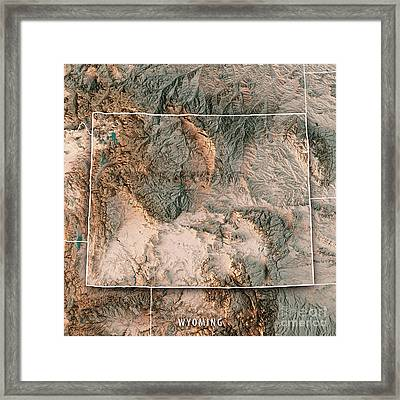 Wyoming State Usa 3d Render Topographic Map Neutral Border Framed Print