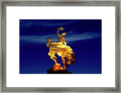 Wyoming Sunset On The Cowboy And His Bucking Bronco Framed Print