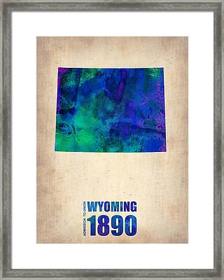 Wyoming Watercolor Map Framed Print by Naxart Studio