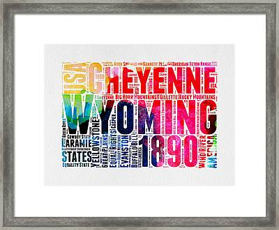 Wyoming Watercolor Word Cloud Map Framed Print by Naxart Studio