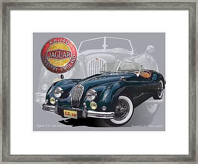 X K 140 Jaguar Framed Print by Kenneth De Tore