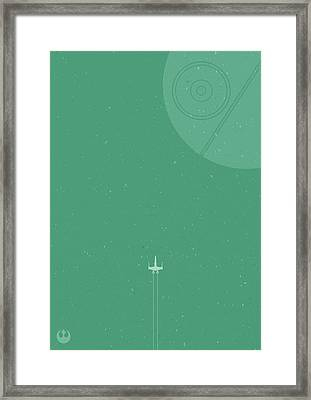 X-wing Meets Death Star Framed Print