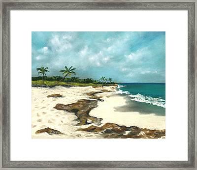 Framed Print featuring the painting Xcaret - Mexico - Beach by Anastasiya Malakhova