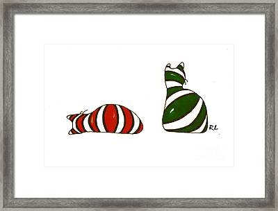 Xmas Stocking Cats Framed Print