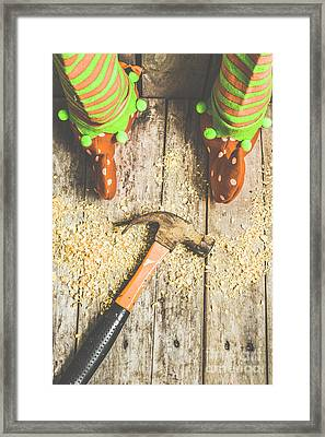 Xmas Workshop Elf Framed Print