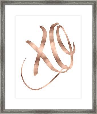 Xo, Rose Gold Framed Print