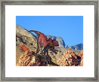 Xuanhanosarus In The Desert Framed Print by Frank Wilson