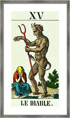 Xv The Devil   Tarot Card Framed Print by French School