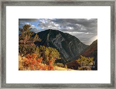 Y Mountain Above Provo Utah At Sunset Framed Print by Gary Whitton