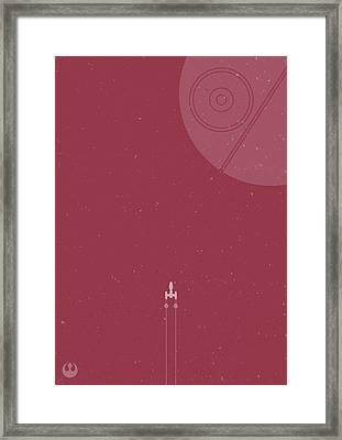 Y-wing Bomber Meets Death Star Framed Print by Samuel Whitton