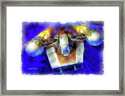 Y-wing Fighter - Aquarell Style Framed Print by Leonardo Digenio