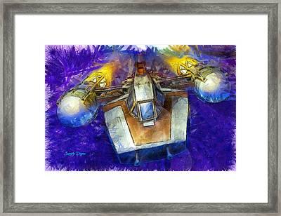 Y-wing Fighter  - Pencil Style -  - Da Framed Print by Leonardo Digenio