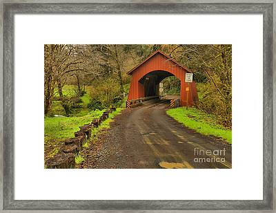 Yachats Covered Bridge Framed Print by Adam Jewell