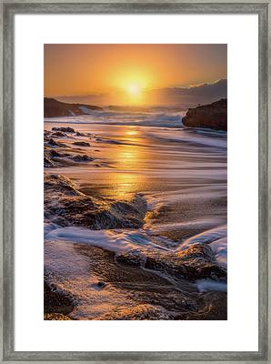 Framed Print featuring the photograph Yachats' Sun by Darren White