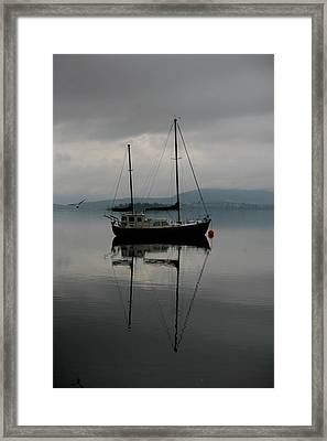 Yacht At Silent Moorings Framed Print