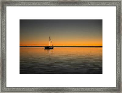 Yacht At Sunset Framed Print by Gary Wright