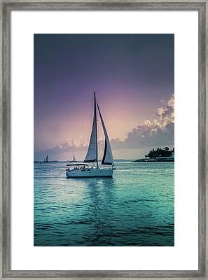 Yacht At The Atlantic Ocean Framed Print by Art Spectrum