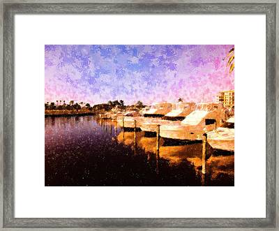Yacht Club Row Framed Print by Florene Welebny