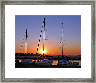 Framed Print featuring the photograph Yacht Club Sunrise by Judy Vincent