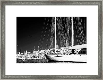 Yacht Docked In Marseille Framed Print by John Rizzuto