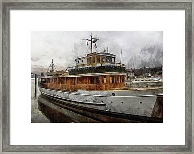 Yacht M V Discovery Framed Print