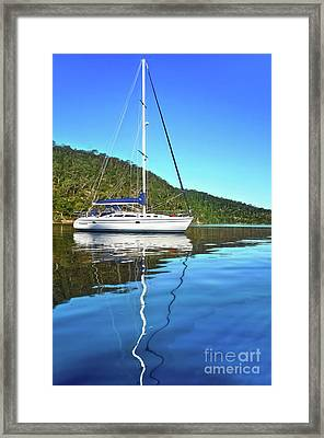 Framed Print featuring the photograph Yacht Reflecting By Kaye Menner by Kaye Menner