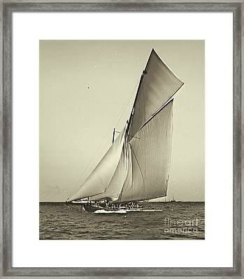 Yacht Shamrock Racing Americas Cup 1899 Framed Print by Padre Art
