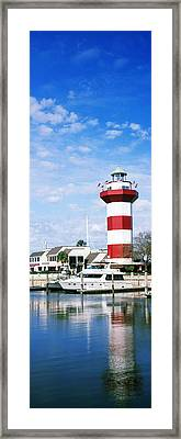 Yachts At A Harbor With Lighthouse Framed Print