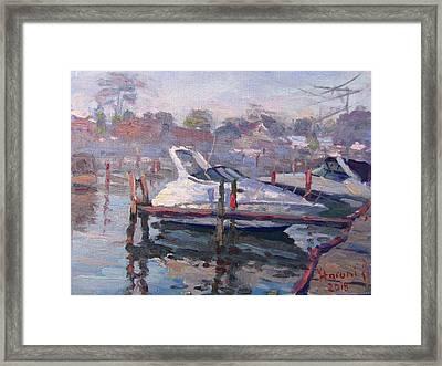 Yachts At The Harbor Framed Print