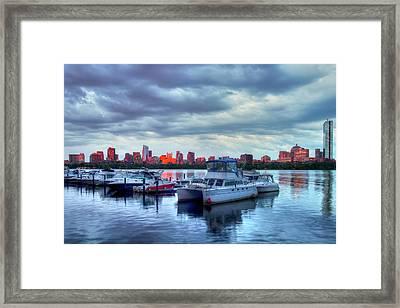 Yachts Docked On The Charles River - Boston Framed Print by Joann Vitali
