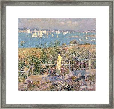 Yachts In Gloucester Harbor Framed Print by Childe Hassam