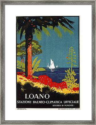 Yachts On The Sea In Beautiful Loano, Liguria - Italy - Vintage Travel Poster Framed Print