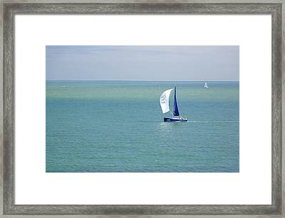 Yachts Sailing In Ventnor Bay Framed Print by Rod Johnson
