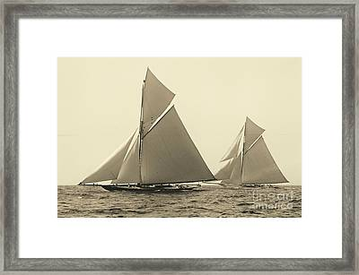 Yachts Valkyrie II And Vigilant Race For Americas Cup 1893 Framed Print by Padre Art