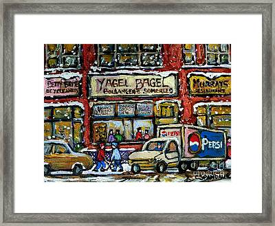 Yagel Bagel And Murray's Resto Montreal Winter Street Paintings Two Boys Playing Hockey Snowy Day Framed Print by Carole Spandau