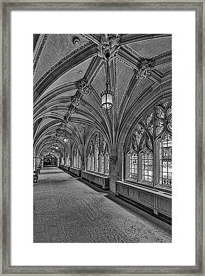 Framed Print featuring the photograph Yale University Cloister Hallway II Bw by Susan Candelario