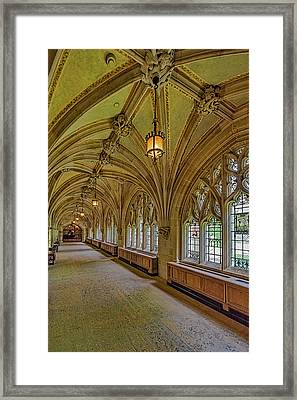 Framed Print featuring the photograph Yale University Cloister Hallway II  by Susan Candelario