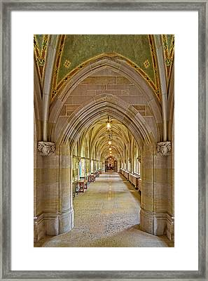 Framed Print featuring the photograph Yale University Cloister Hallway by Susan Candelario