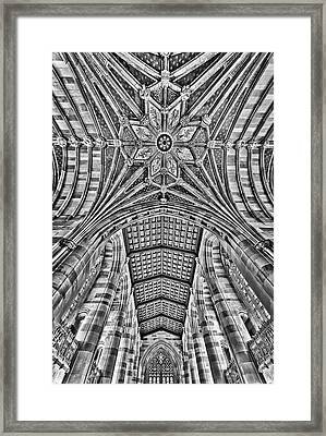 Framed Print featuring the photograph Yale University Sterling Library Bw by Susan Candelario