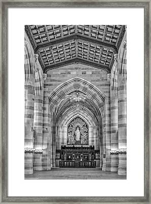 Framed Print featuring the photograph Yale University Sterling Memorial Library Bw  by Susan Candelario
